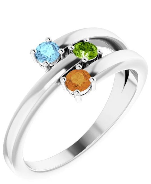 14k white gold 3-stone bypass family ring mounting only.