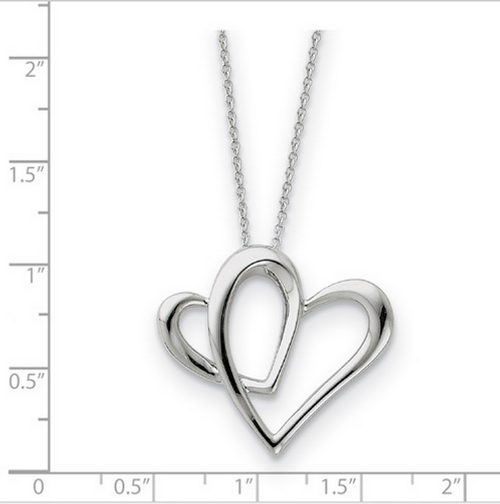 """SS double heart pendant on 18"""" chain"""