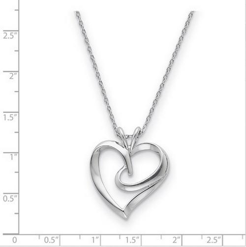 """SS fancy """"Hugging Heart"""" pendant on 18"""" chain"""