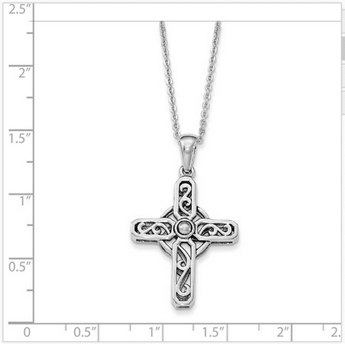 "SS scroll design cross on 18"" chain"