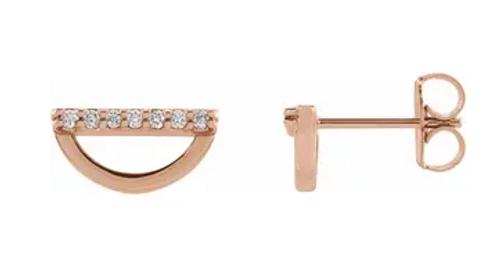 14k rose gold diamond geometric stud earrings