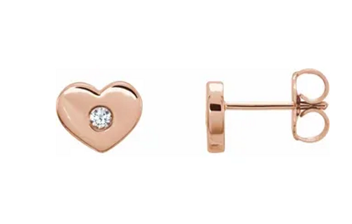 14k rose gold (2) diamonds heart stud earrings