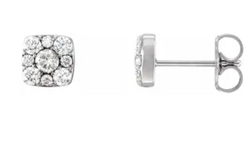 14k white gold square diamond cluster stud earrings