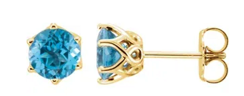 14k fancy 6-prong basket 6mm blue topaz stud earrings
