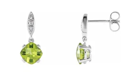 14kwg 0.04cttw diamond accented 6mm cushion cut peridot post earrings