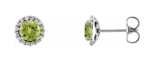 14kwg 1/6cttw diamond halo 5mm peridot stud earrings