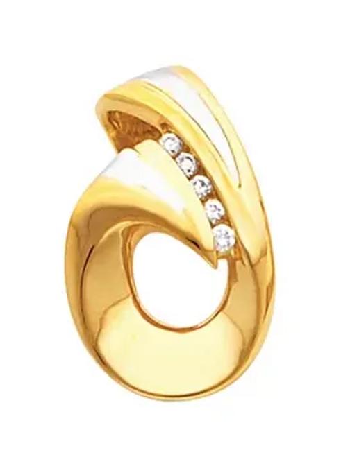 14k white/yellow gold freeform diamond slide pendant
