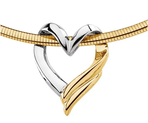 14k two tone heart slide pendant