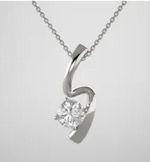 14kwg 6mm round stone freeform pendant only