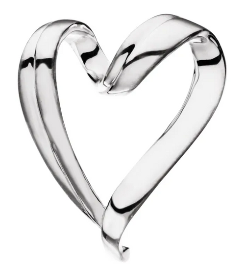 14k white gold curly heart slide pendant