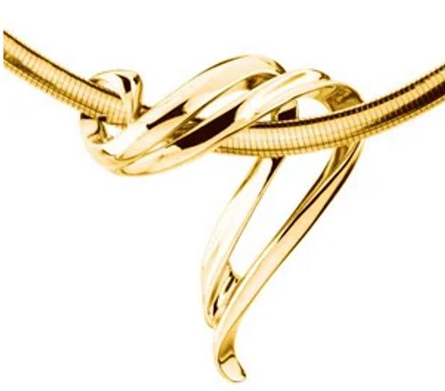 14 karat yellow gold swirl Omega slide pendant