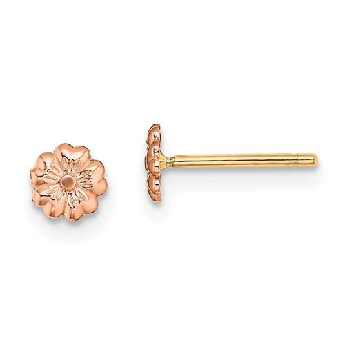 14k rose gold flower stud earrings