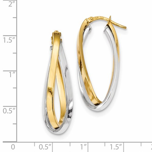 14k two tone oval double twisted hoop earrings