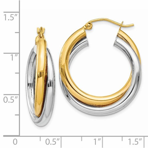 14k two tone double crossover hoop earrings