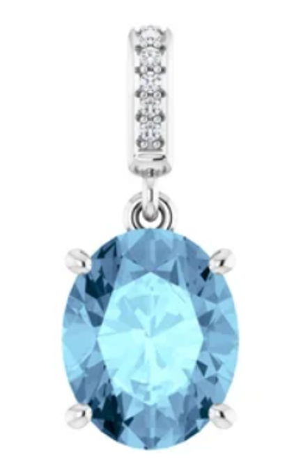 14kwg  oval Swiss Blue Topaz and (6) diamond accented pendant