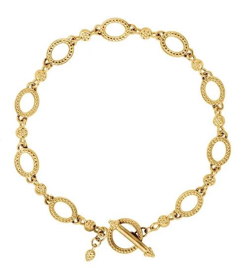 "14ky granulated link bracelet w/toggle clasp 7.5"""