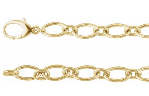 """14ky 9.5mm solid oval link bracelet 7.5"""""""