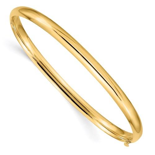"""14kyg polished 3/16"""" hinged bangle bracelet 5mm by 7.25"""""""