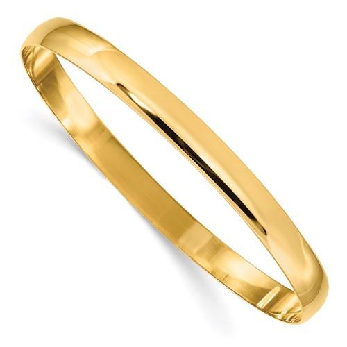 """14kyg polished 6mm solid slip on half round bangle bracelet 7.75"""""""