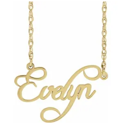 14K Yellow Script Nameplate Necklace