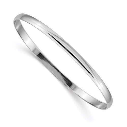 "14kwg polished 4mm solid slip on half round bangle bracelet 8"""