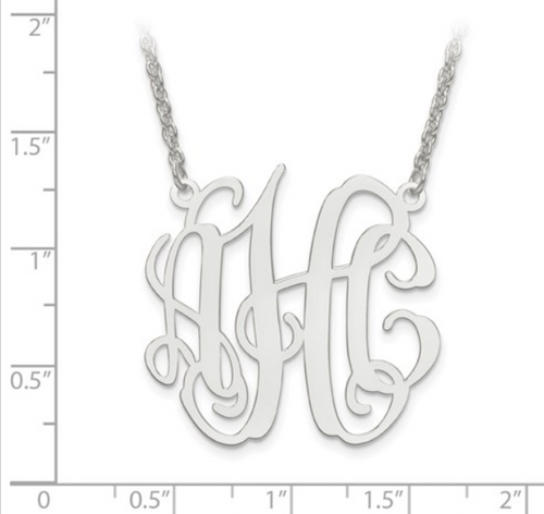 Sterling silver monogram necklace - Medium