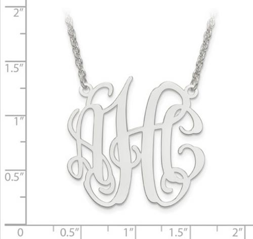 Sterling silver monogram necklace - Medium