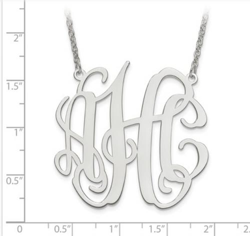 Sterling silver monogram necklace - Large