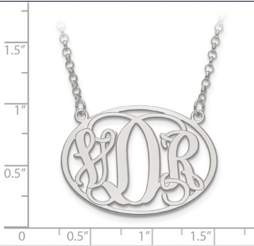 Sterling silver oval monogram plate