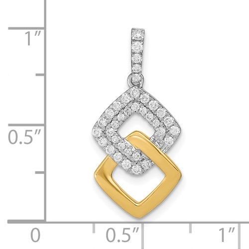 14k white and yellow gold  1/3cttw diamond  double square pendant