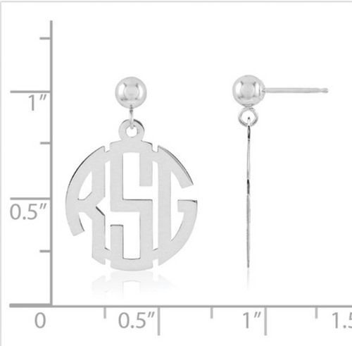 Block circle monogram earrings
