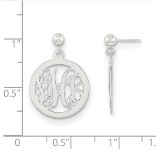 SS Monogram Circle Dangle Earrings
