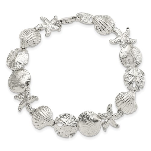 """Sterling Silver sea shell bracelet 7"""""""