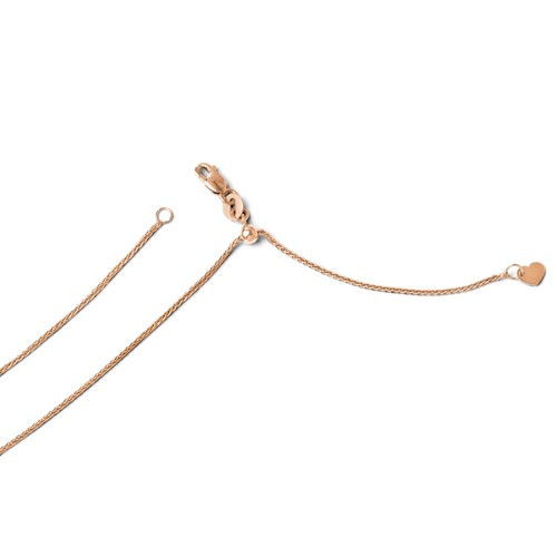 14k rose gold adjustable 1mm solid round wheat chain to 22""