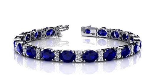Oval sapphire and diamond bracelet