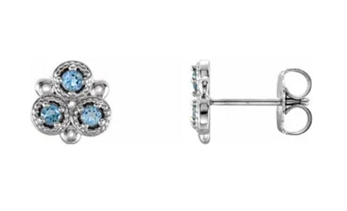 14kwg  Aqua cluster stud earrings