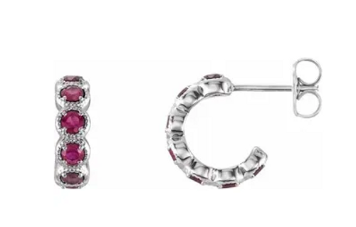 14kwg (14) round 2.5mm rubies hoop post earrings