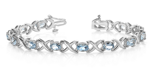 Oval sapphire and X link bracelet