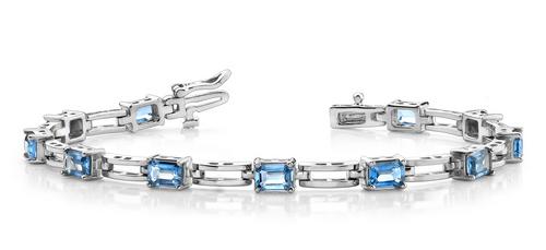 Emerald cut gemstone and rectangular link bracelet