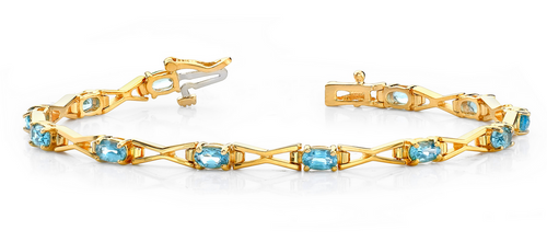 Oval gem and angular metal bracelet