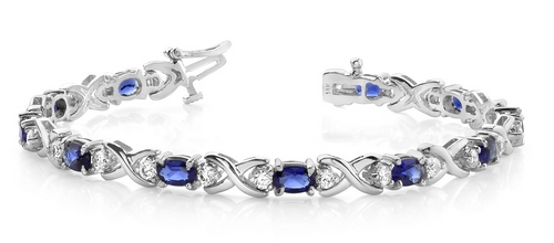 Oval gems, diamonds and x link bracelet