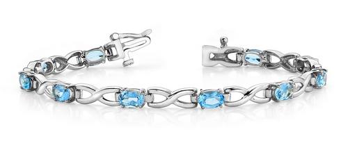 Oval gems and X shaped link bracelet
