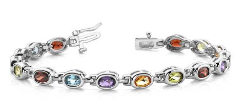 Multi-color oval stone bracelet.