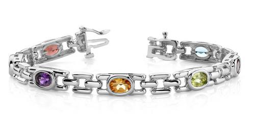 Oval gemstone bracelet with square link