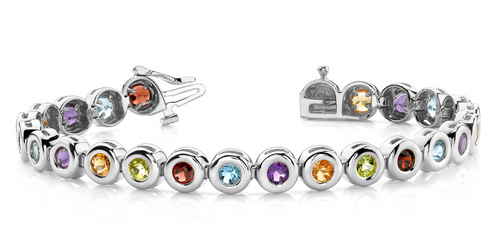 Multi-color round gemstone bracelet