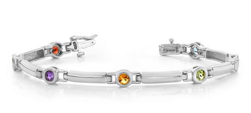 Round gemstone and bar bracelet