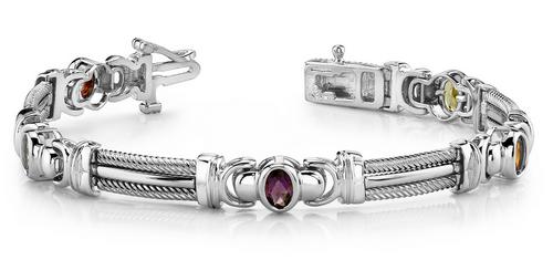 Oval gemstone and fancy bar bracelet