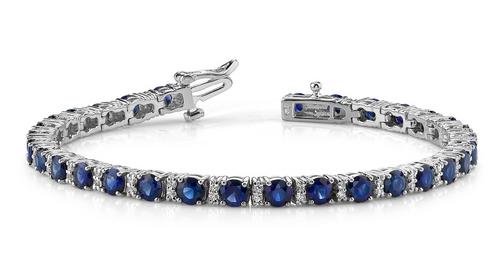 Round gemstone and 2 round diamond link bracelet