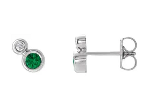 14kwg emerald/diamond bezel set earrings