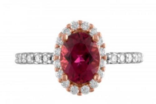 Halo pink tourmaline and diamond ring